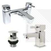 Orion Modern Cloakroom Basin Mixer and Bath Filler Pack